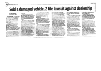 Farmington Dealership sold a Damaged Vehicle, Two File Lawsuit Against Dealership (Navajo Times, October 12, 2017)