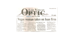 Vegas woman takes on loan firm (Las Vegas Optic, June 6-8, 2008)