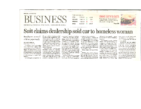 Suit Claims Dealership Sold Car to Homeless Woman (Albuquerque Journal, April 27,2016)